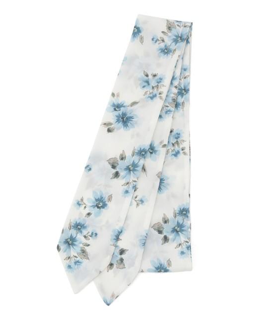 ビス   花柄ナロースカーフ   ホワイト