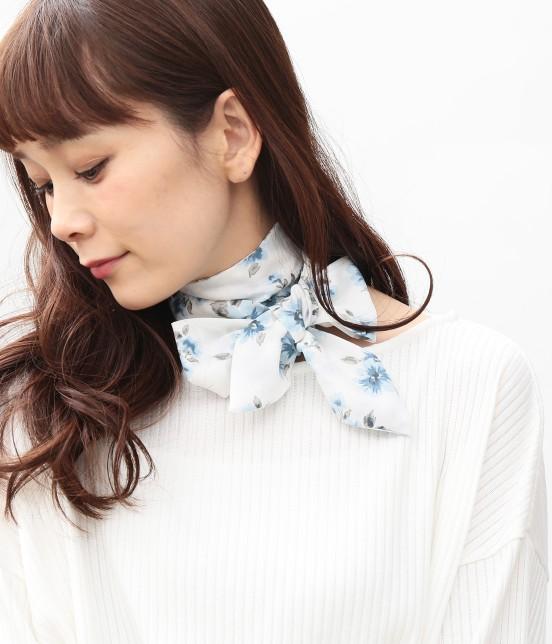 ビス   花柄ナロースカーフ