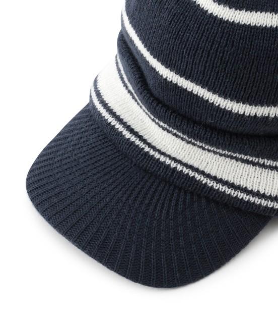 ジュン アンド ロペ | つば付きライン入りニットポンポン帽 - 4