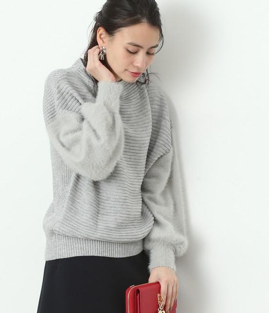 ビス | 【sweet12月号掲載】【2WAY】袖フェザーヤーンボトルネックプルオーバー