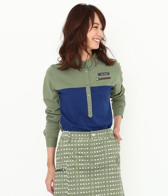 ジュン アンド ロペ | MILLION ICE 配色長袖ポロシャツ | カーキ