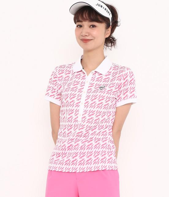 ジュン アンド ロペ | 【UV CUT】【吸水速乾】リーフ柄プリントポロシャツ | ピンク