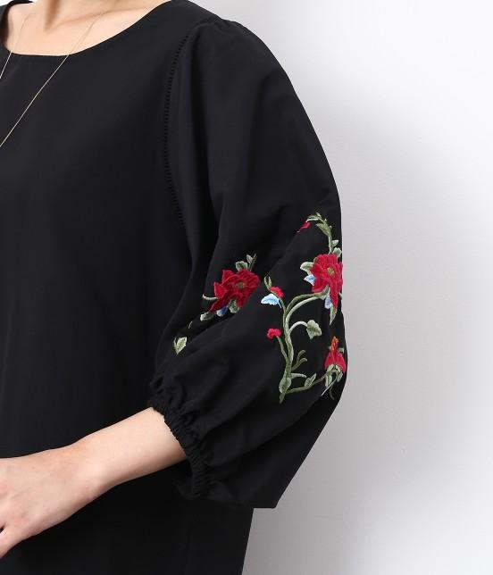 ロペピクニック   【SPECIAL PRICE】【WEB限定】フラワー刺繍袖ボリュームワンピース - 4