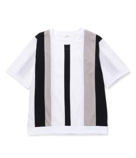 ジュンレッド | 【先行予約】パネルストライプ半袖Tシャツ | ブラック