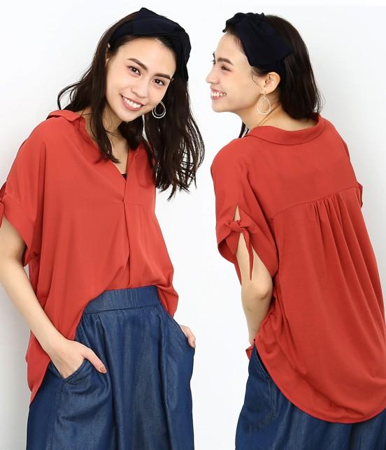 ロペピクニック | 半袖ヒラリボンシャツ | レンガ