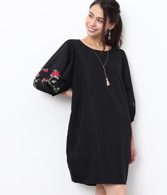 ロペピクニック   【SPECIAL PRICE】【WEB限定】フラワー刺繍袖ボリュームワンピース   ブラック