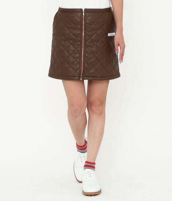 ジュン アンド ロペ   フェアリーレザーチョコレートキルトスカート