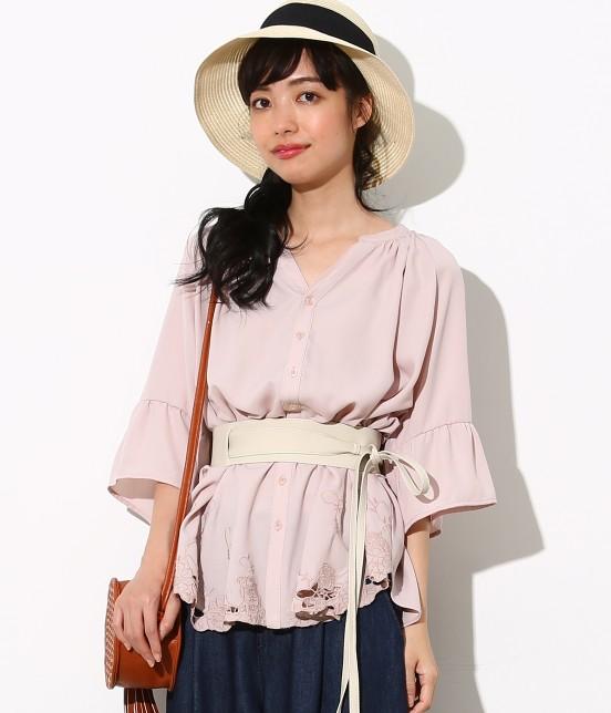 ロペピクニック | 裾刺繍スキッパーブラウス | ピンク