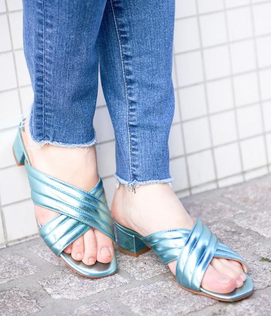 アダム エ ロペ ファム | 【FABIO RUSCONI】Metalic Sandals | グリーン