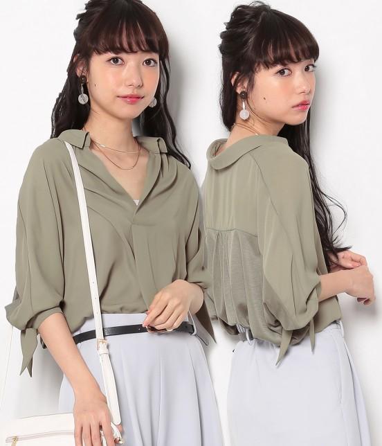 ロペピクニック | 【HIRARI COLLECTION】ヒラリボンシャツ | カーキ