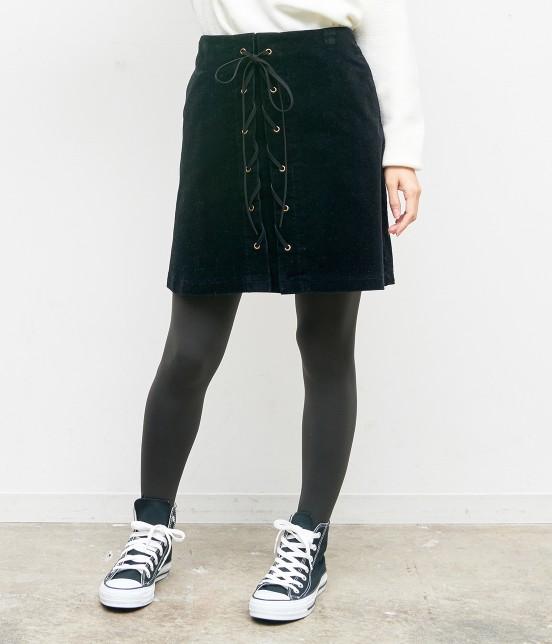 ロペピクニック | コーデュロイレースアップスカート | ブラック