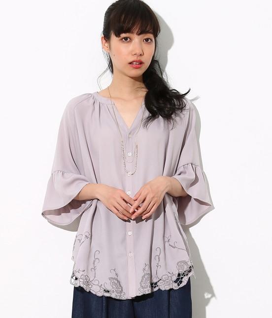 ロペピクニック | 裾刺繍スキッパーブラウス | グレー系