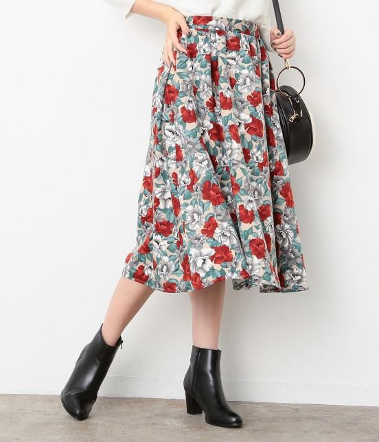 ビス | 【sweet11月号掲載】【sweet×ViSコラボ】フラワープリントスカート | ベージュ