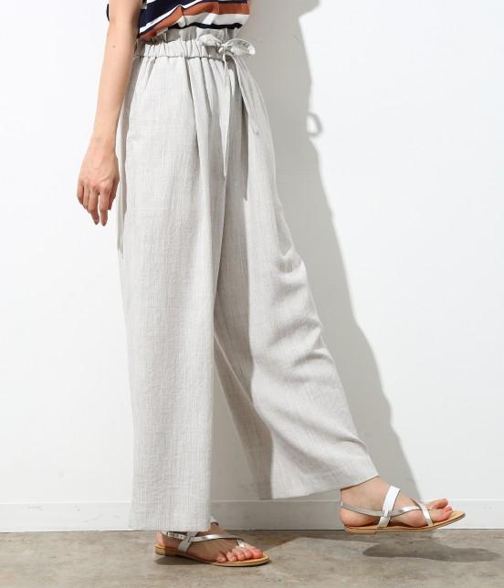ロペピクニック | 【Japan Fabric】麻調ワイドパンツ | グレー系