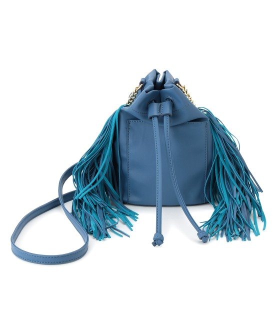ビス | フリンジ付き巾着ミニショルダーバッグ | ブルー