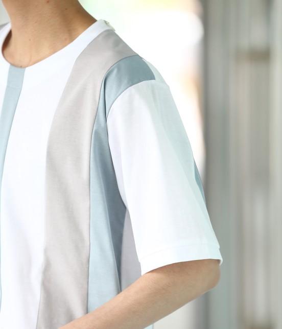 ジュンレッド | 【TIME SALE】パネルストライプ半袖Tシャツ - 4