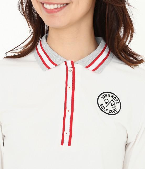 ジュン アンド ロペ   【吸湿速乾性】【UVカット】ラインリブ長袖ポロシャツ - 3