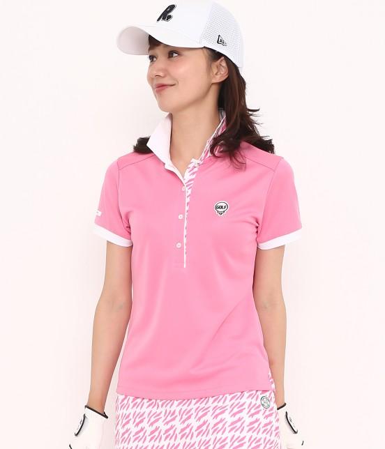 ジュン アンド ロペ | 【UV CUT】【吸水速乾】リーフ柄プリントコンビポロシャツ | ピンク