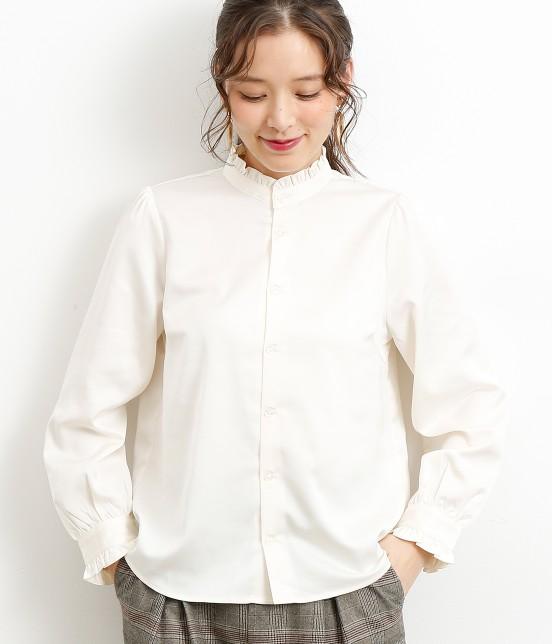 ロペピクニック | フリルハイネックシャツ | ホワイト