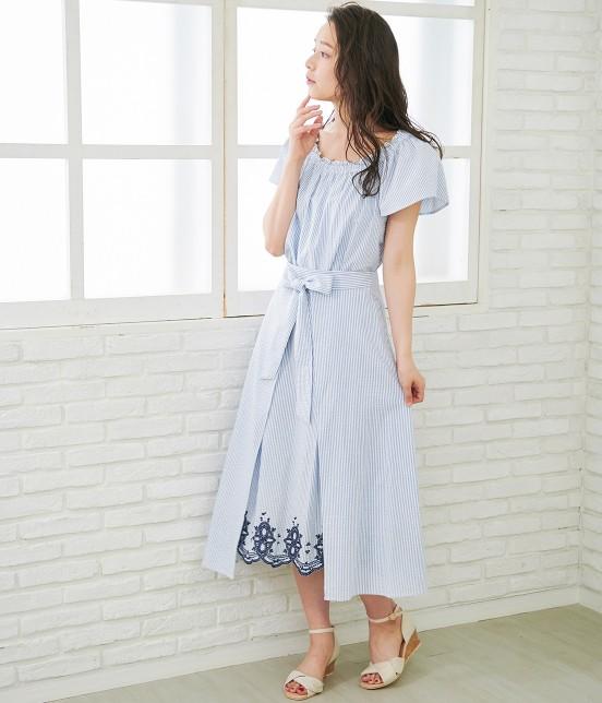 ロペピクニック   【50TH SPECIAL COLLECTION】無地/ストライプ裾刺繍スカート - 12