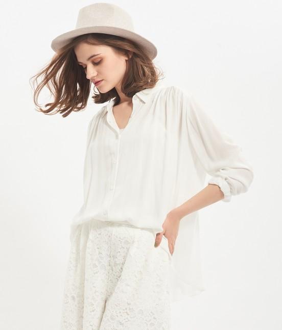 ビス | レーヨンギャザーシャツ | ホワイト