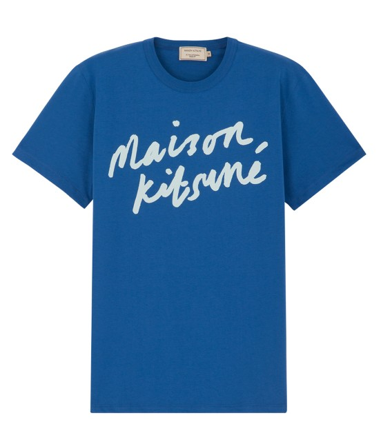 MAISON KITSUNÉ MEN   T SHIRT HANDWRITING   ブルー系