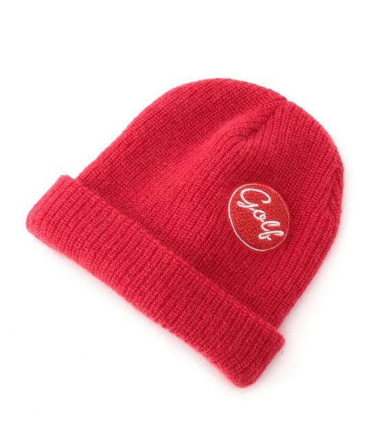 ジュン アンド ロペ | ワンポイントワッペン付きニット帽 | レッド