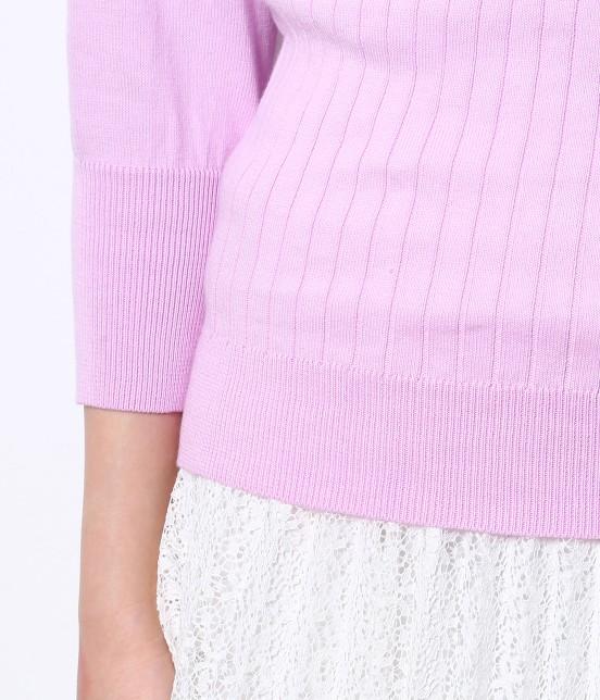 ロペピクニック | 綿100%製品染めリブ編みプルオーバー - 5