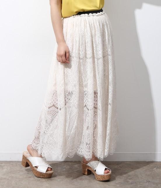 ビス | ヒゲレースロングスカート | ホワイト