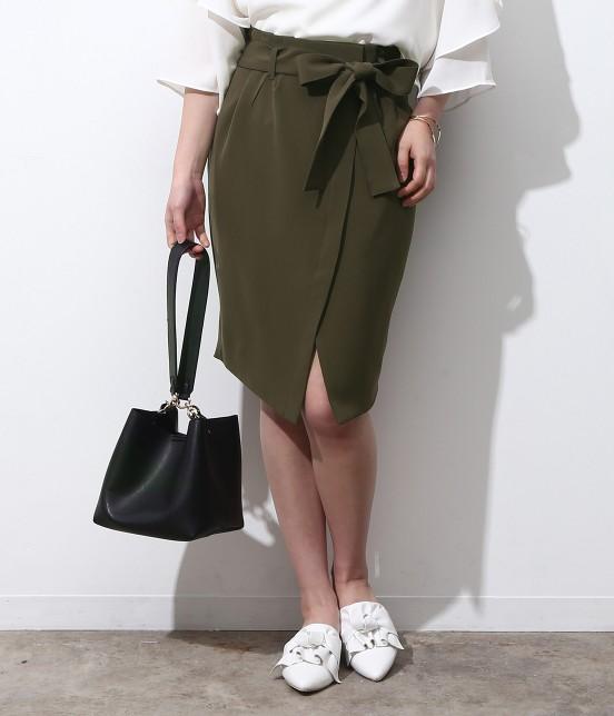 ビス | 【今だけ!WEB店舗限定10%OFF】★新色追加★リボンベルト重ね前スリットスカート