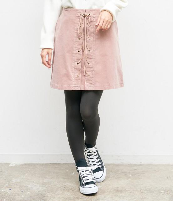 ロペピクニック | コーデュロイレースアップスカート | ピンク