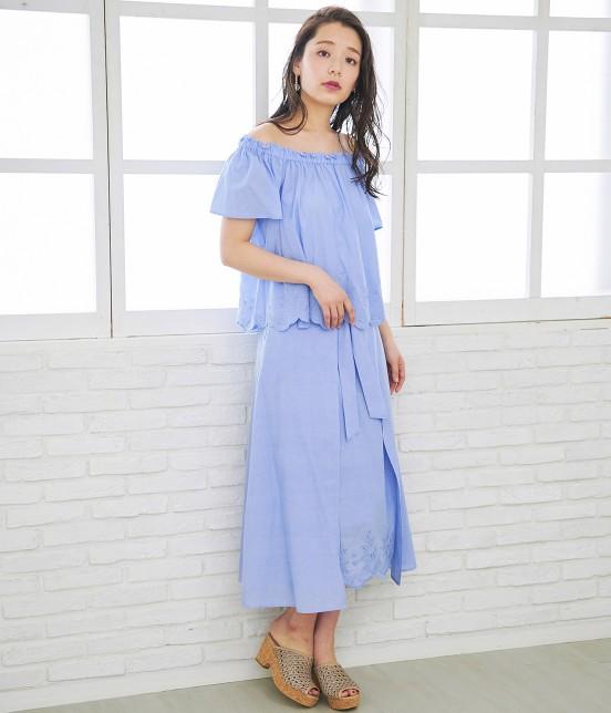 ロペピクニック   【50TH SPECIAL COLLECTION】無地/ストライプ裾刺繍スカート - 18