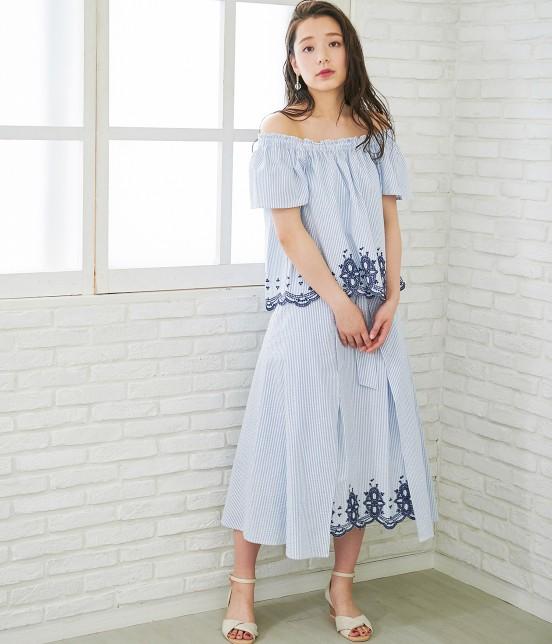 ロペピクニック   【50TH SPECIAL COLLECTION】無地/ストライプ裾刺繍スカート - 11