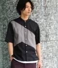 JUNRed - ジュンレッド | オータムパネルバンドカラー五分袖シャツ | ブラック