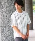 JUNRed - ジュンレッド | ストライプ半袖開襟シャツ | ホワイト