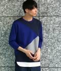 JUNRed - ジュンレッド | 異素材コンビクレイジー8分袖Tシャツ | ネイビー