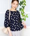 ROPÉ PICNIC - ロペピクニック   【WEB,一部店舗限定】【2WAY】花柄サイドシャーリングブラウス   ネイビー