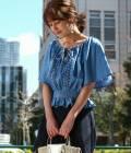 ViS - ビス | 【先行予約】【2WAY】ソフトデニム刺繍入りフレアスリーブブラウス | サックス