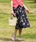 ViS - ビス | 【sweet5月号掲載】ぼかしフラワーミディ丈ギャザースカート | ネイビー