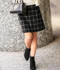 ROPÉ - ロペ | 【トールサイズ】ウインドペーンシャギースカート | ブラック系