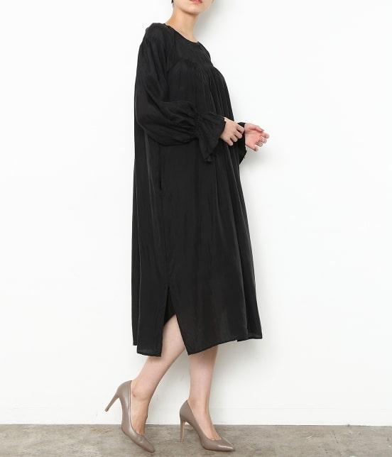 アダム エ ロペ ファム | 【ロペシスターズコレクション 辻直子監修】【ne Quittez pas】 SILK BLACK DRESS - 1