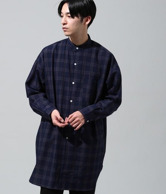 ジュンレッド | 【smart 10月号掲載商品】チェックバンドカラーマキシシャツ - 1