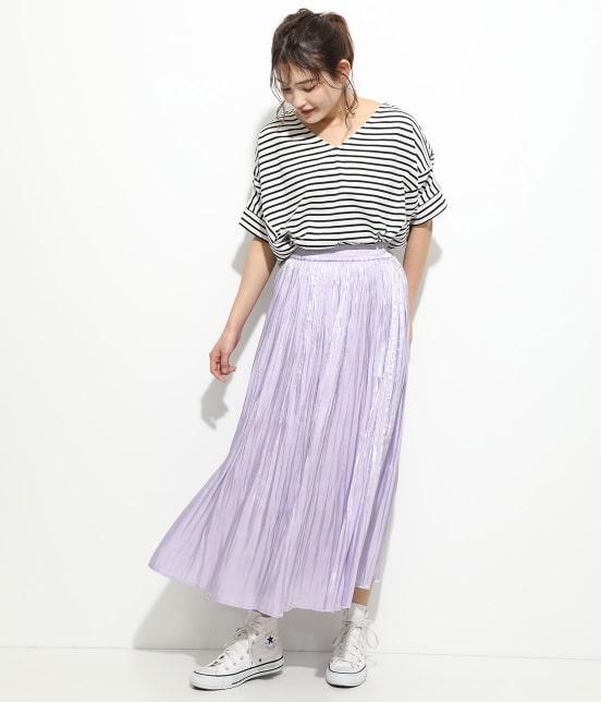 ビス | 【早割】【新色追加】シャイニーサテンフェードアウトプリーツスカート - 7