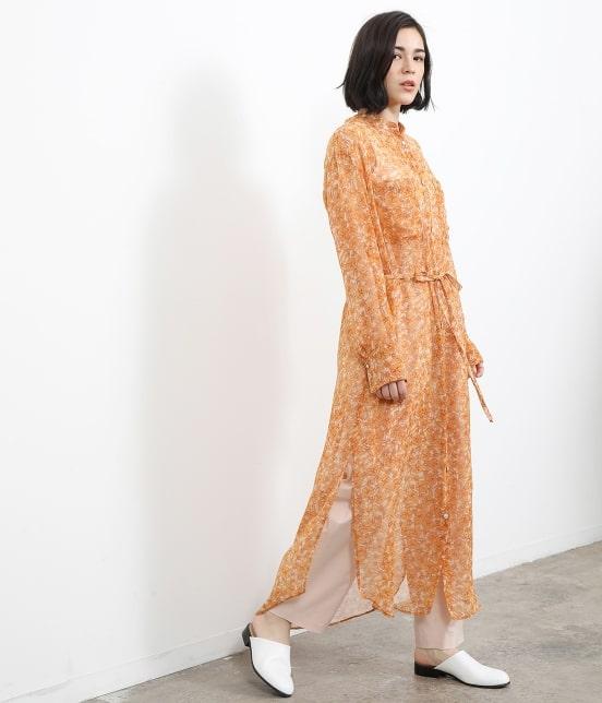 サロン アダム エ ロペ ウィメン   オレンジプリントロングシャツドレス - 11
