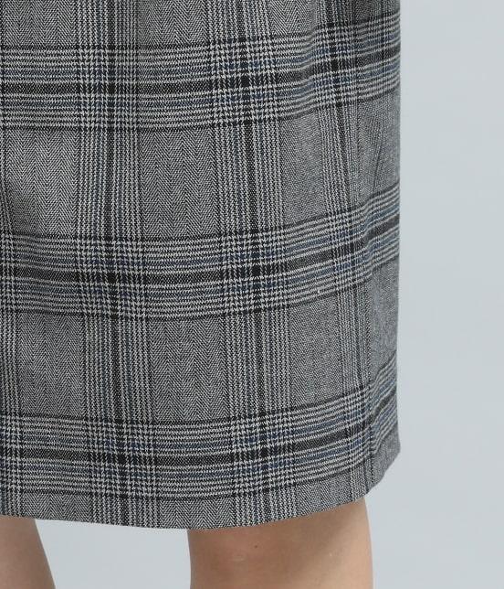 ビス | ヘリンボーンチェックタイトスカート - 5