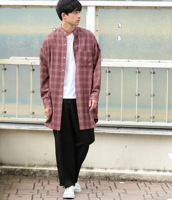 ジュンレッド | 【smart 10月号掲載商品】チェックバンドカラーマキシシャツ - 14