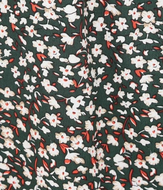 ビス   花柄ハイネックボリューム袖ワンピース - 15