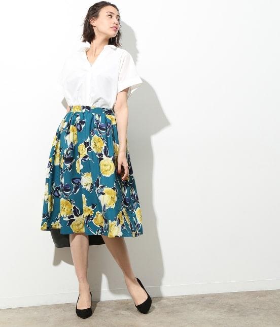 ビス   アートプリントギャザースカート - 7