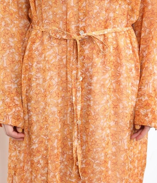 サロン アダム エ ロペ ウィメン   オレンジプリントロングシャツドレス - 6