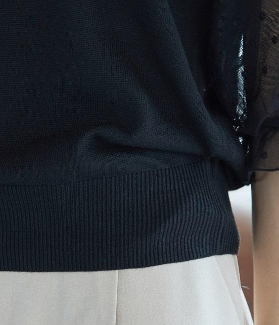 ビス | 【泉里香さん着用】【前後2WAY】袖ドットチュールプルオーバー - 5
